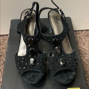 Reba black suede wedges with black stones. Size 7